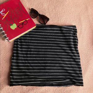 Black striped mini skirt